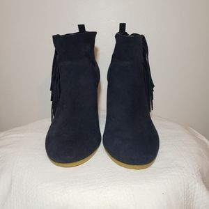 Crown Vintage Shoes - NEW Crown Vintage suede navy fringe booties